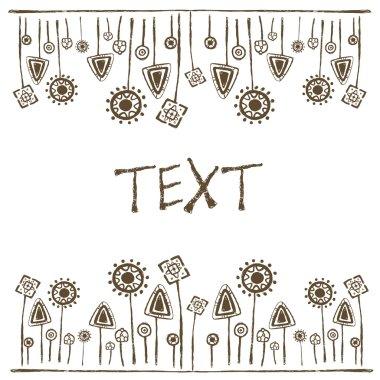 Petroglyphs vegetation, white background, place for text,