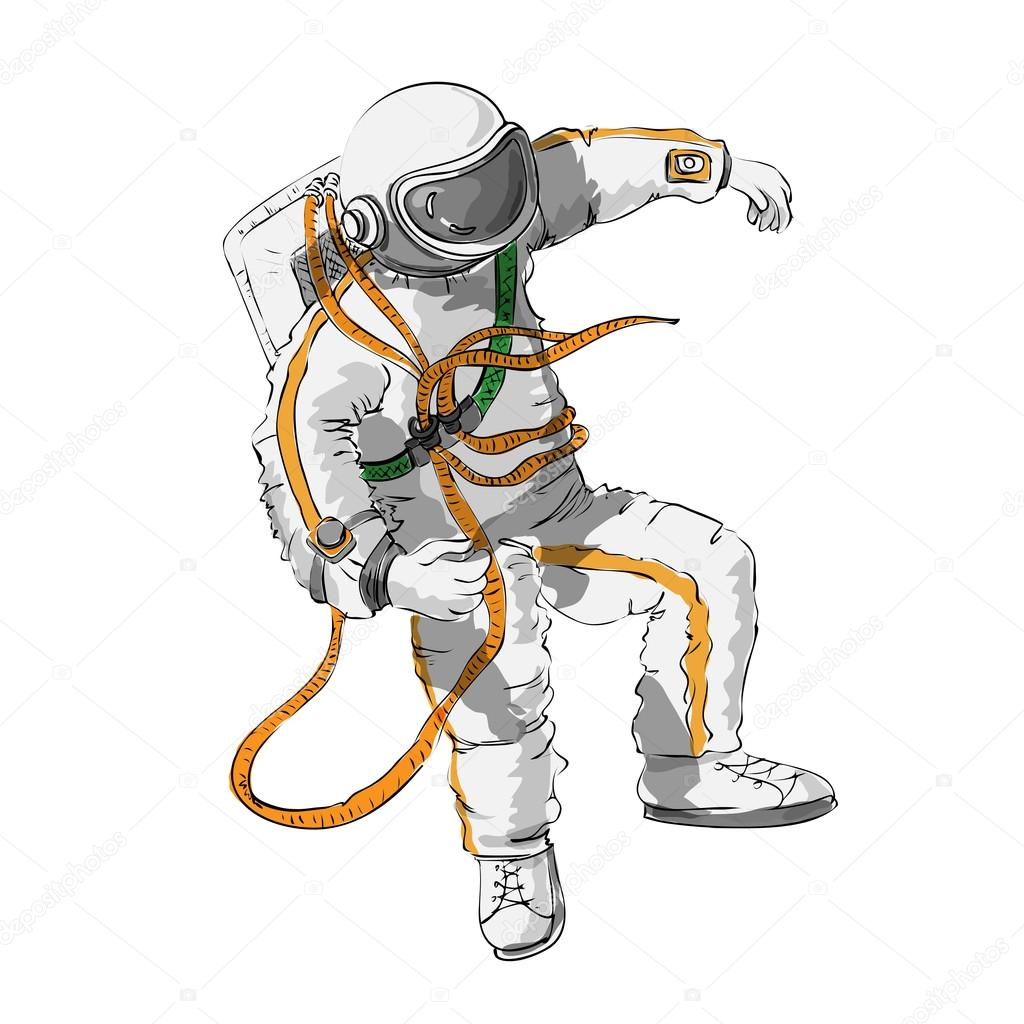Astronauta galleggianti in muta e spazio di colore