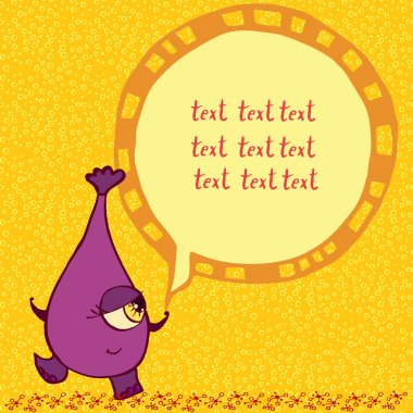 Funny purple monster with an inscription