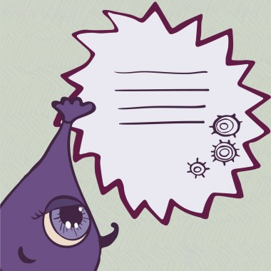 Funny purple monster with frame for text
