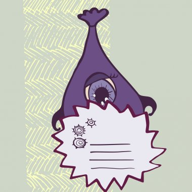 Funny purple monsters with signs