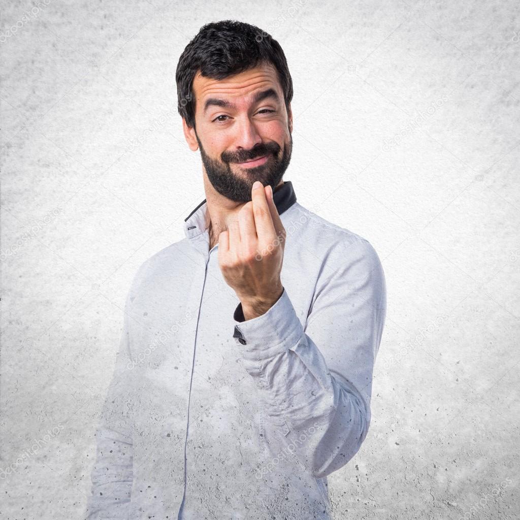 0b03a4fc9b2b7 Hombre haciendo un gesto de dinero — Fotos de Stock © luismolinero ...