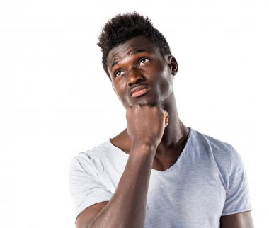 Black Man over white background