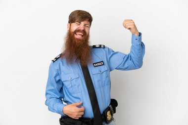 Redhead police man isolated on white background making guitar gesture