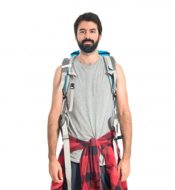 backpacker over isolated white background