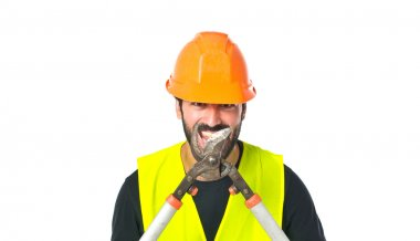 Workman with scissors mower over white background