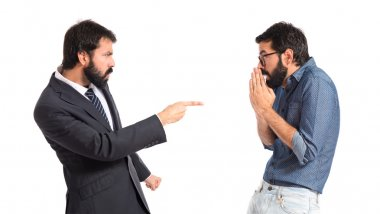 Person angry with his brother over white background