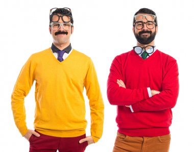 Twin brothers with glasses