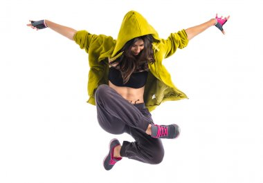 Teenager girl dancing hip hop