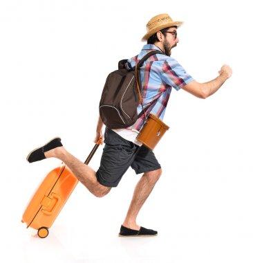 Tourist running fast