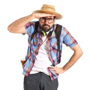 Tourist showing something
