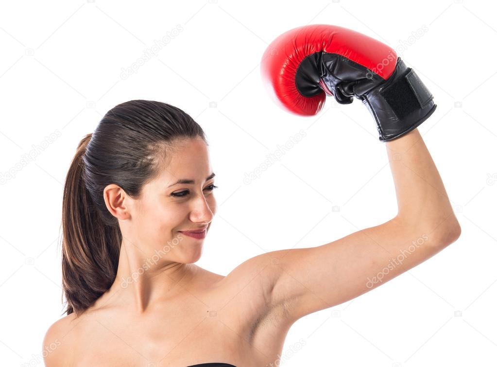 femme sport avec gants de boxe photographie luismolinero 85509968. Black Bedroom Furniture Sets. Home Design Ideas