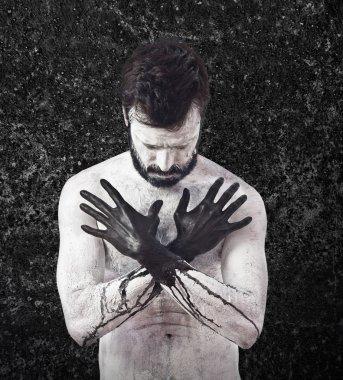 Vampire with black hands stock vector