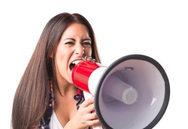 Woman shouting by megaphone