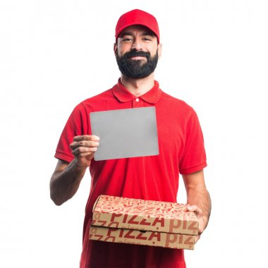 Pizza delivery man holding an empty placard