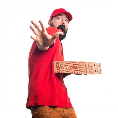 Frightened Pizza delivery man