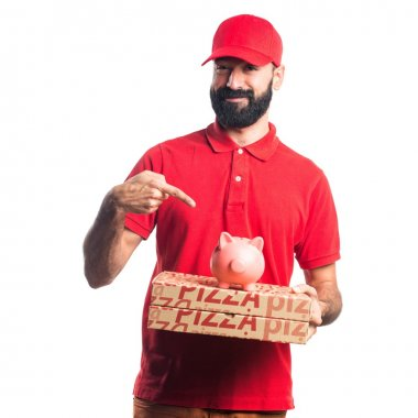 Pizza delivery man holding a piggybank