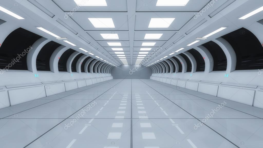 Interior De Ventana De Nave Espacial: Corredor Interior Nave Espacial Futurista