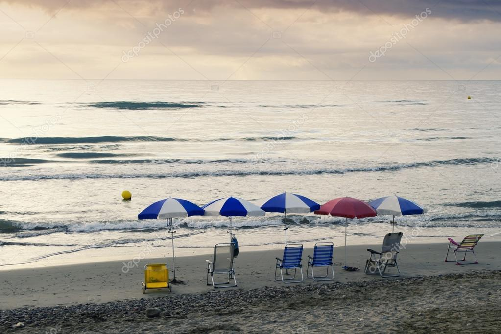 Hammocks and umbrellas on the beach