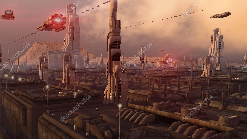 Futuristic city and ships