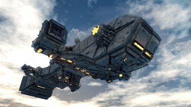 Spaceship above a cloud sky