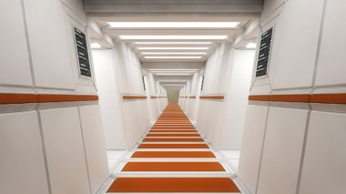 Corridor in futuristic interior