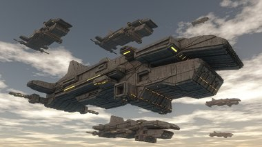 Futuristic spaceship in sky