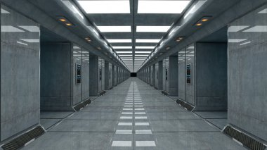 Science fiction futuristic corridor