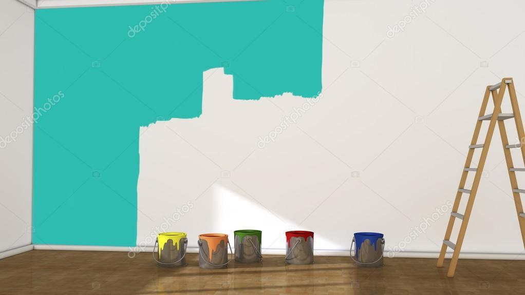 3d interieur kamer en verf blikjes muur met groene verf foto van mik38