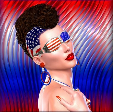4th of July Punk girl with Mohawk hairstyle and stars and stripes glasses.