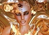 Fényképek Futurisztikus Robot Girl, arany