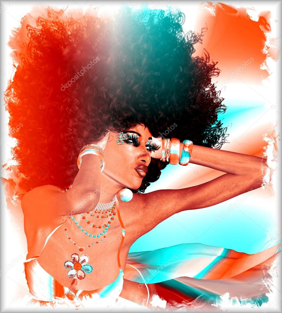 Modern digital art image of fabulous retro Afro and disco look.