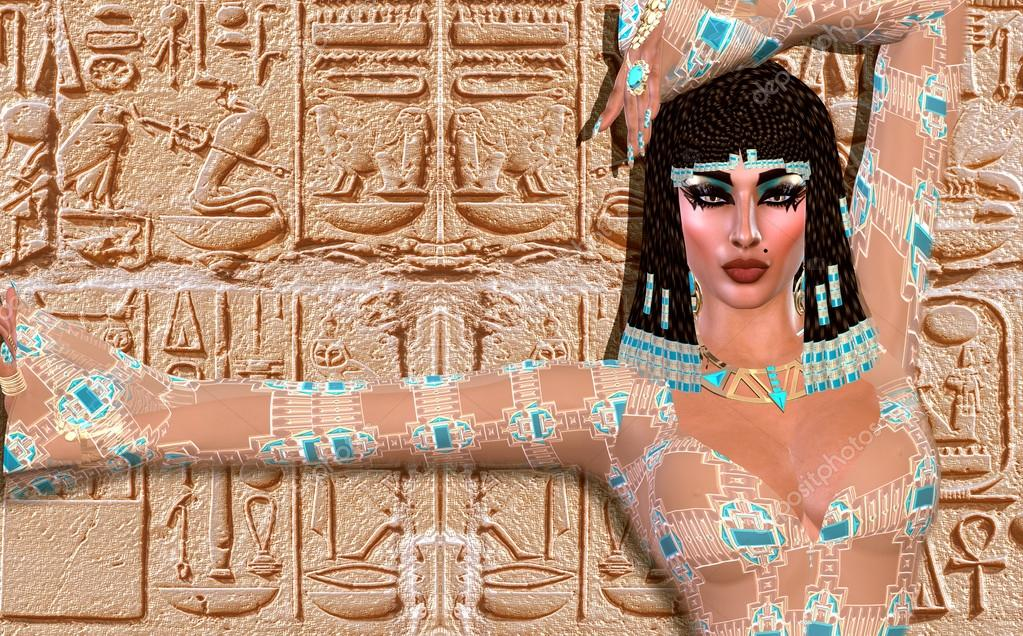 Cleopatra of Egypt! Our modern digital art Egyptian fantasy version. Background with hieroglyphics.