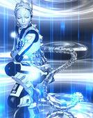 Fényképek Futurisztikus robot lány egy absztrakt háttér kék és fehér fém fogaskerék