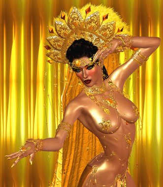 Asian woman with sexy body, belly dancing.  Beautiful face, cosmetics, diamonds and jewelry adorn this Asian girl, all set against an abstract gold background with glowing lights and unique pattern.