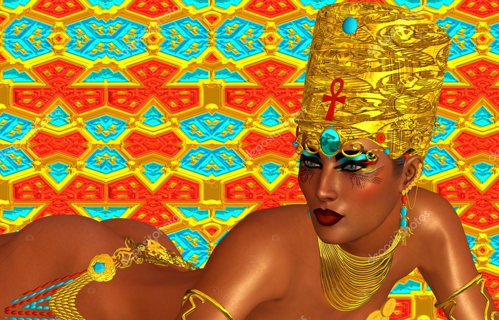 Egyptian, Cleopatra in our modern digital art style, close up.