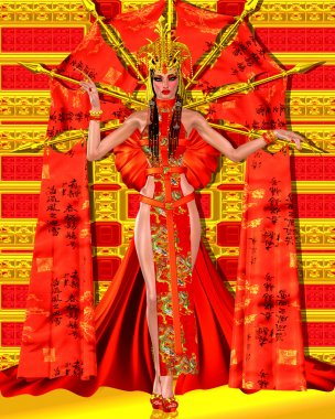Asian beauty with red and gold fantasy outfit and background.  Her beautiful cosmetics and fantastic dress make a statement of elegance, power and seduction.