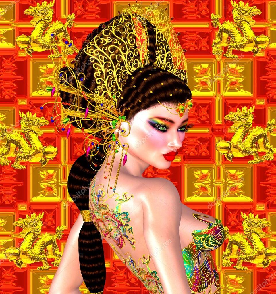 Belle Femme Asiatique Tatouage De Dragon Sur Son Dos Colore De