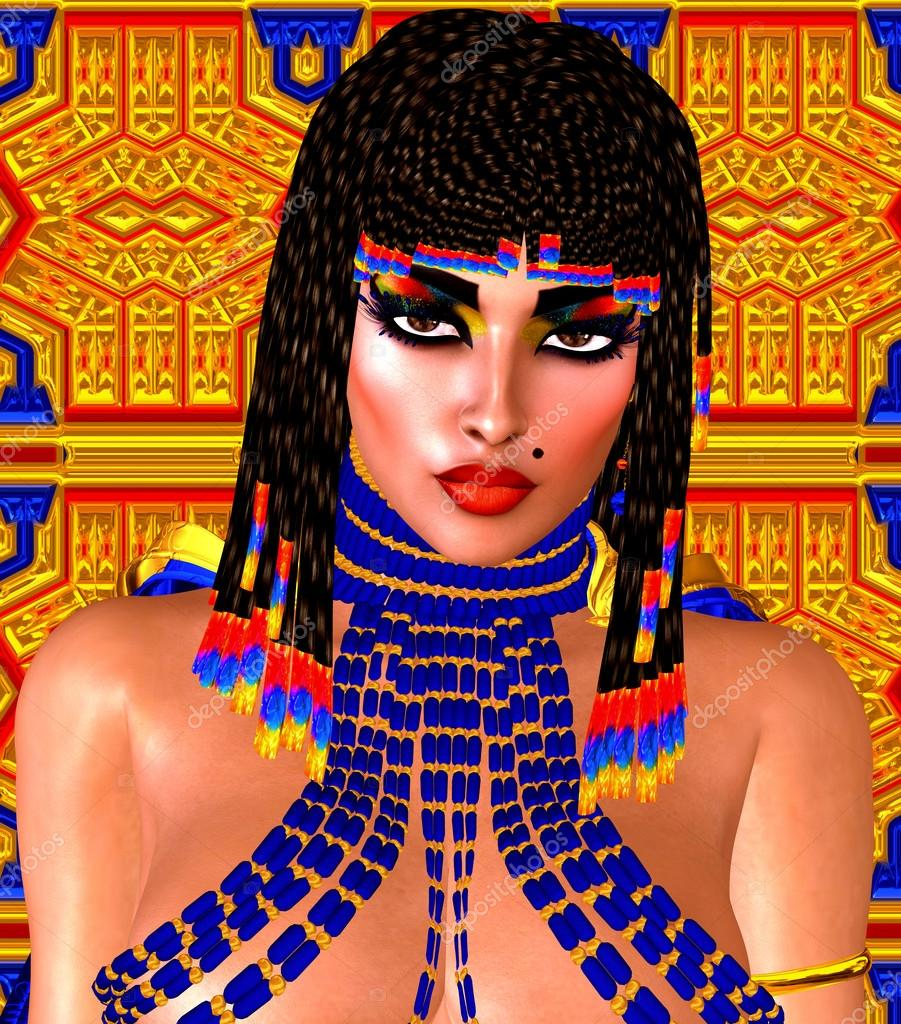 Cleopatra or any Egyptian Woman Pharaoh. Modern digital art fantasy. Set on a gold and blue abstract background