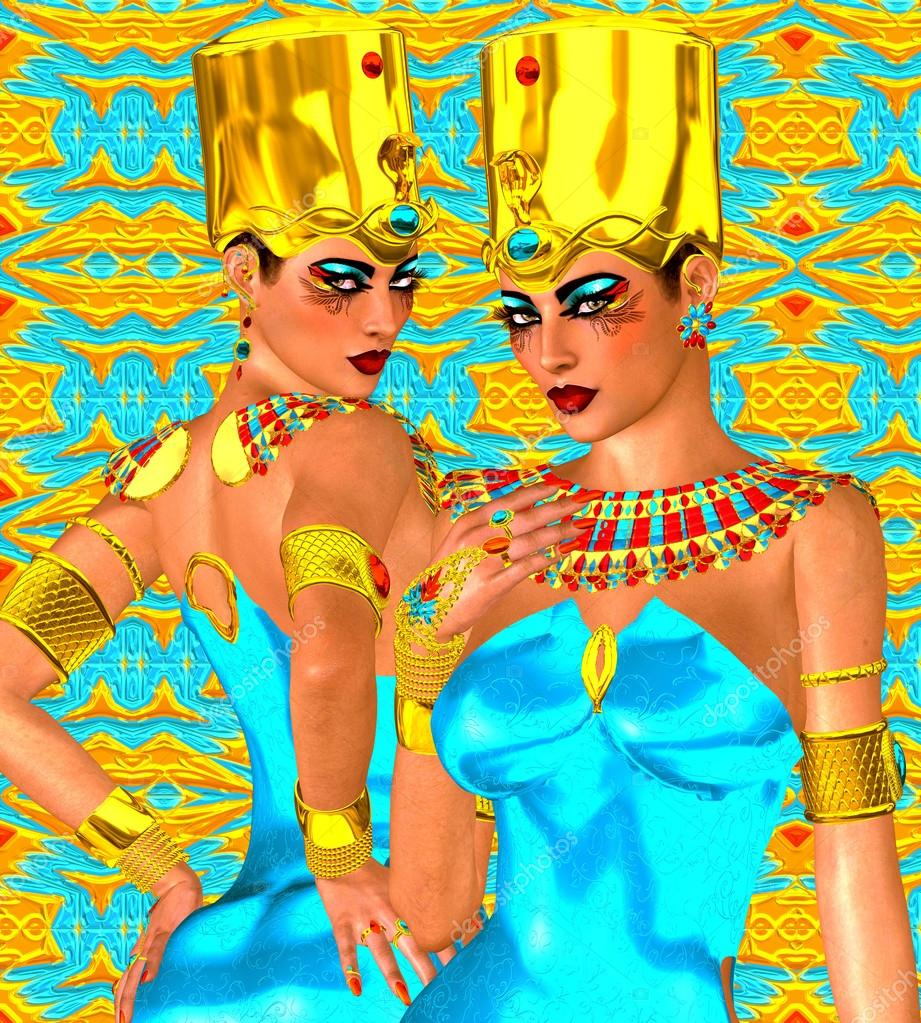 Upper and Lower Egypt symbolized with our fantasy digital art, Egyptian twins.