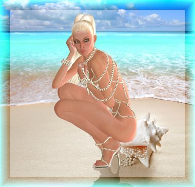 A digital art blonde beauty sits on a sea shell with pearls spilling out of them.  She wears a long pearl necklace as a bikini and matching shoes. Summer vacation on the beach never looked so tempting!