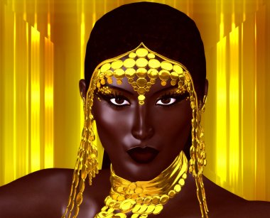 A beautiful young African woman wearing gold jewelry against a gold abstract background. A unique digital art creation of fashion and beauty.