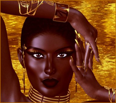 A beautiful young African woman wearing gold jewelry against a gold abstract background. A unique digital art creation of fashion and beauty in a vogue pose.