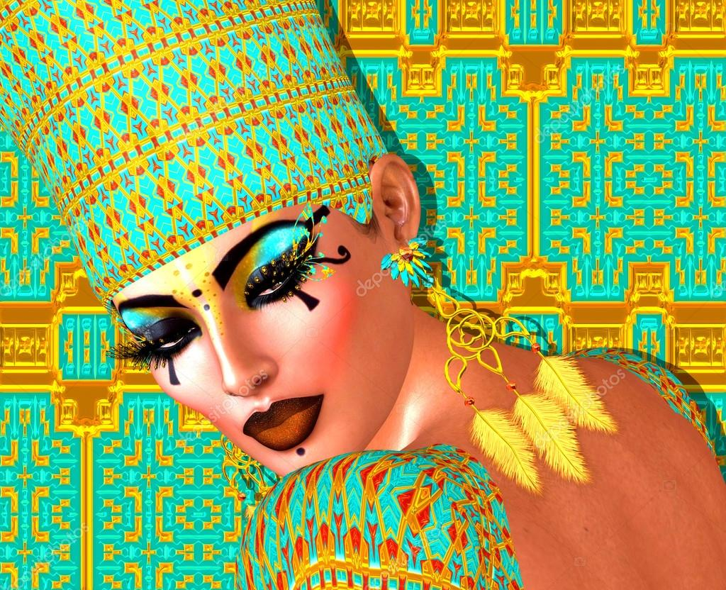 Egyptian queen adorned with gold and turquoise. Her beauty and confidence are without question.