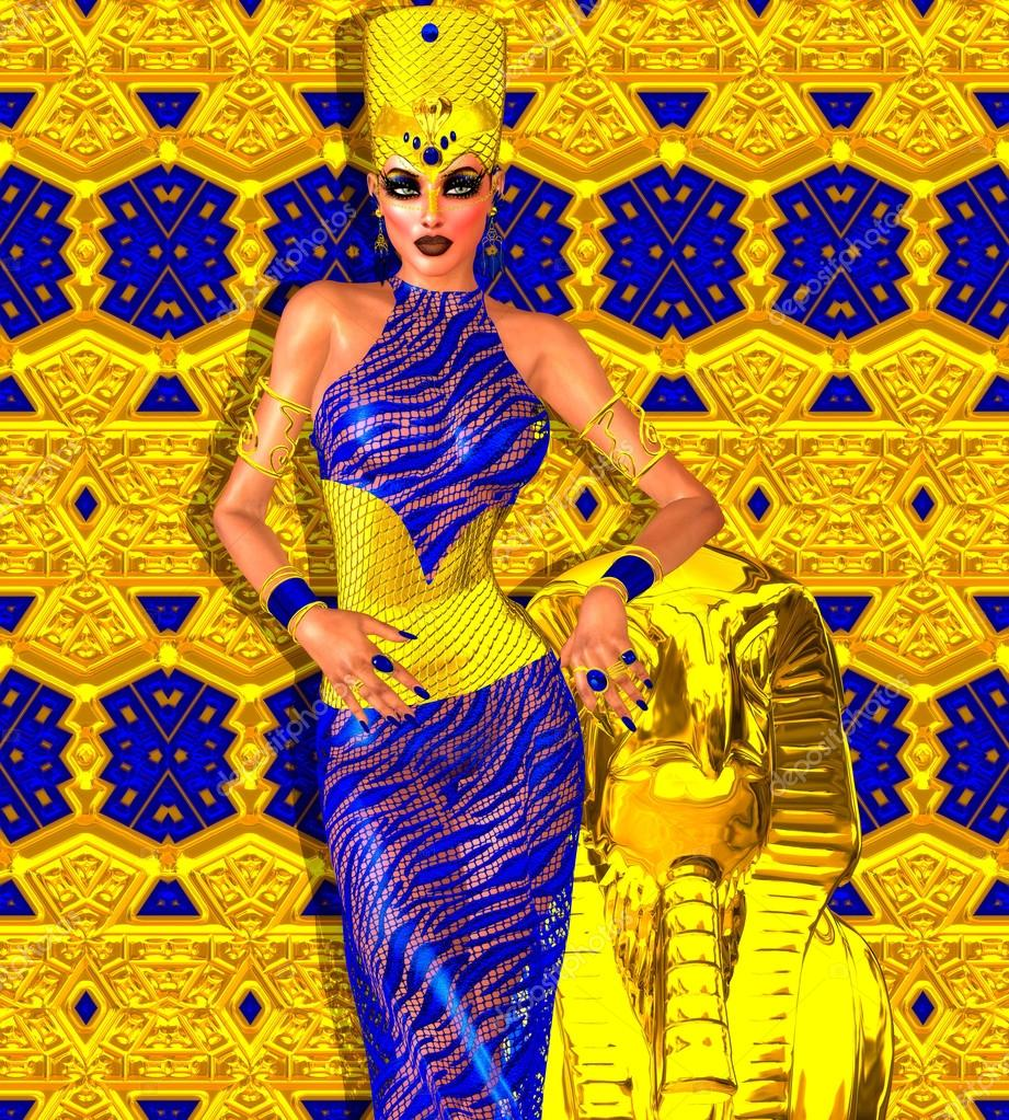 Seductive Egyptian woman in gold and blue. A stunning digital art fantasy scene that captures the beauty, wealth  and power of Egypt.