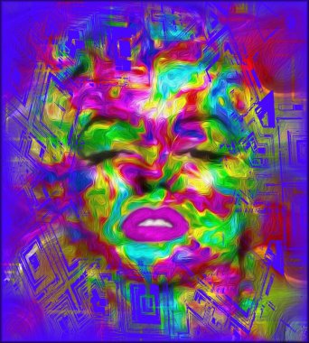 Pop art is one of our unique, colorful abstract digital art images of a classic blonde bombshell in the likes of a Marilyn pop art style.