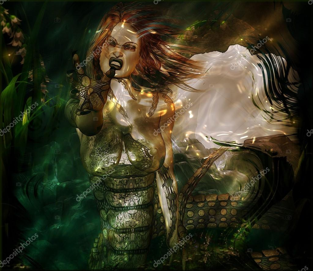 801aec3d4284fa Een moderne kunst draai aan de oude Griekse mythe van Medusa. Deze godin  eng slang is bereiken als ze naar haar volgende slachtoffer wedstrijden —  Foto van ...