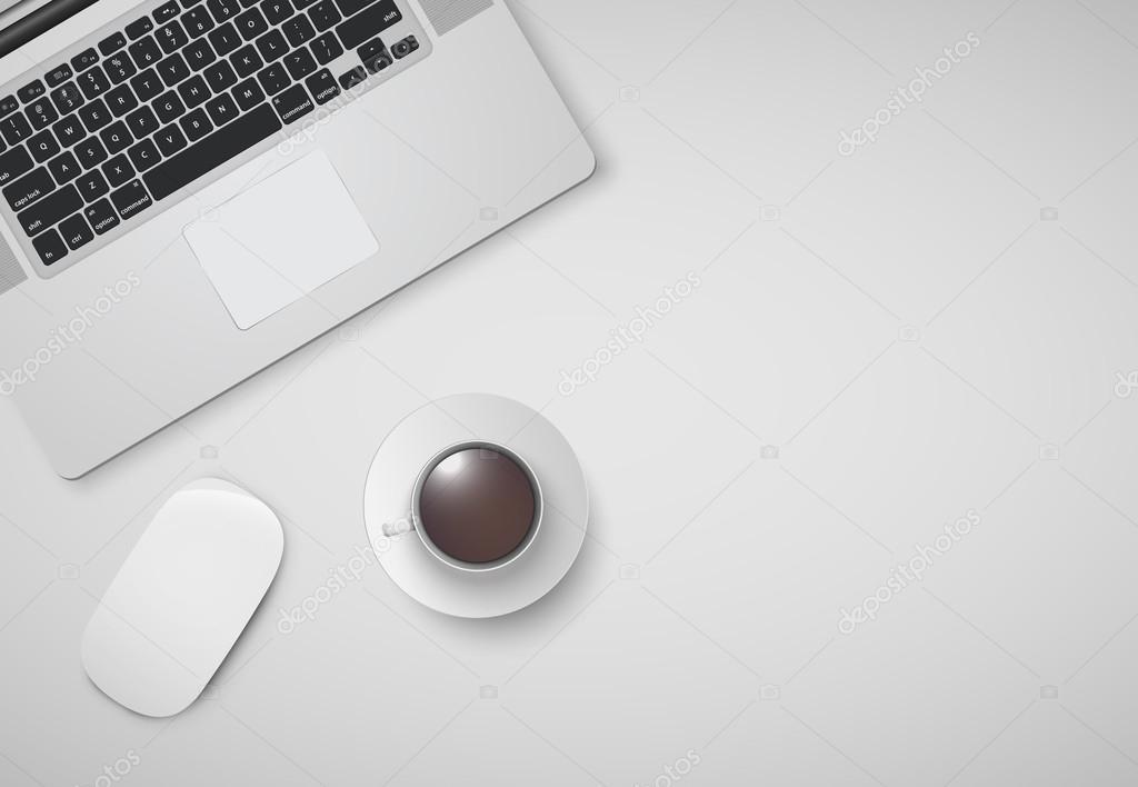 Minimale Buro Mit Computer Maus Und Eine Tasse Kaffee Vektor