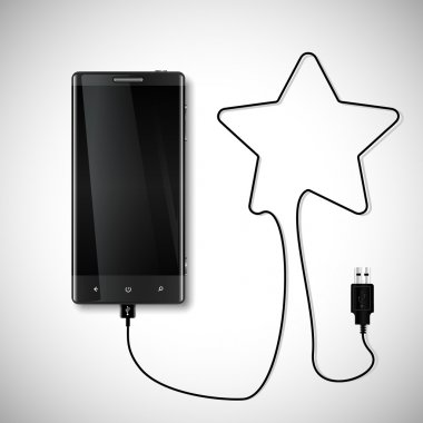 Charging cord forming star symbol