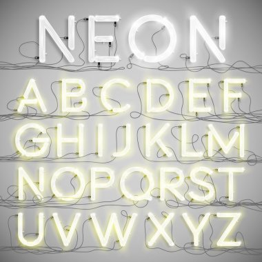 Realistic neon alphabet